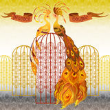 鸟男性孔雀射击suturated生动 美丽的金无缝的样式背景 也corel凹道例证向量 免版税库存照片
