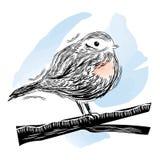 鸟的例证在linocut样式的 库存图片