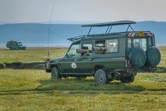 鸟的监视人的摄影徒步旅行队在纳库鲁湖国家公园,肯尼亚 图库摄影