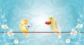 鸟看板卡问候 库存图片