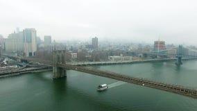 鸟眼睛直升机射击了布鲁克林大桥和公园 影视素材