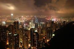 鸟眼睛香港晚上s视图 库存照片