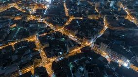 鸟瞰图交通路在曼谷市在晚上,时间间隔顶面路在泰国 股票录像