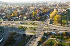 鸟瞰图其中一个区在克拉科夫的历史中心 免版税库存照片