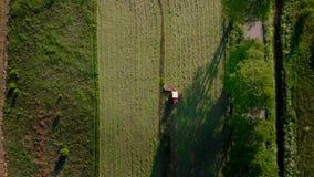 鸟瞰图农业机械,在白天运转的领域拖拉机犁的traktor乘驾 影视素材