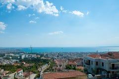鸟瞰图北希腊语城市的 免版税库存图片