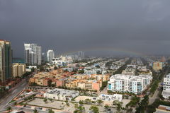 鸟瞰图南海滩风暴 库存图片