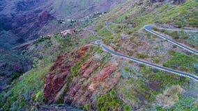 鸟瞰图在Masca峡谷附近的弯曲道路 影视素材