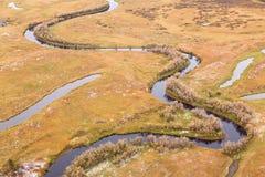 鸟瞰图投下秋天草甸和小河 库存照片