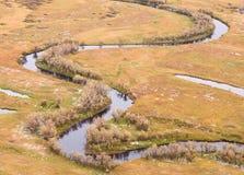 鸟瞰图投下秋天草甸和小河 免版税库存照片