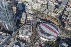 鸟瞰图斯台普斯中心洛杉矶 免版税库存照片