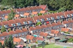 鸟瞰图有后院的家庭房子在Emmeloord,荷兰 库存图片