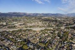 鸟瞰图格拉纳达Hills在洛杉矶 图库摄影