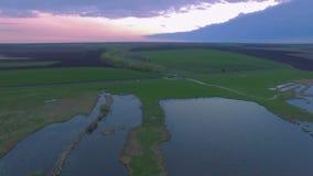 鸟瞰图流动到原野湖的河口低级-鸟瞰图 股票录像
