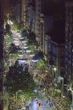 鸟瞰图狂欢节Inagural游行在蒙得维的亚乌拉圭 库存照片
