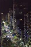 鸟瞰图狂欢节Inagural游行在蒙得维的亚乌拉圭 免版税图库摄影