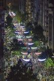 鸟瞰图狂欢节Inagural游行在蒙得维的亚乌拉圭 免版税库存照片