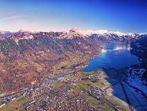 鸟瞰图瑞士城市烟特勒根 库存照片