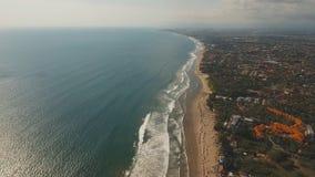鸟瞰图美丽的海滩,巴厘岛,库塔 库存照片