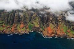 鸟瞰图考艾岛海岛 免版税库存图片