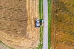 鸟瞰图联合收割机会集麦子在日落 免版税库存图片