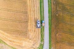鸟瞰图联合收割机会集麦子在日落 图库摄影