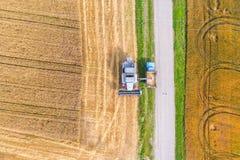鸟瞰图联合收割机会集麦子在日落 免版税图库摄影