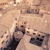 鸟瞰图背景,中世纪城市。 意大利 库存照片
