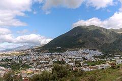 鸟瞰图蓝色美丽的市舍夫沙万,摩洛哥,非洲 免版税库存照片