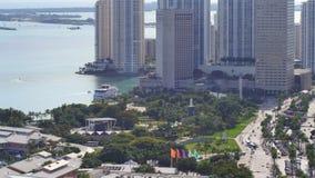 鸟瞰图街市迈阿密和Bayside 4k 股票录像