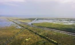 鸟瞰图跨境10在新奥尔良附近 免版税库存图片