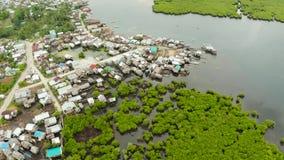 鸟瞰图镇在美洲红树 锡亚高岛,菲律宾 股票录像