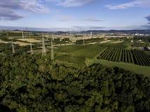 鸟瞰图高压金属岗位高压塔顶视图绿色风景树plaantage果子产物 免版税库存图片