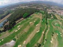 鸟瞰图高尔夫球场 免版税库存照片