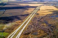 鸟瞰图高速公路,天桥 库存照片