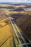 鸟瞰图高速公路,天桥 免版税图库摄影