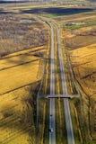 鸟瞰图高速公路,天桥 免版税库存照片