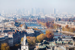 巴黎鸟瞰图,美好的全景 免版税库存图片