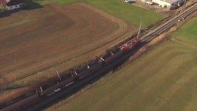 鸟瞰图,货物训练,铁路,运输,运输 股票视频