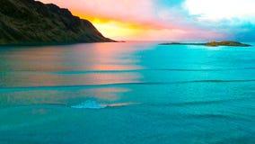 鸟瞰图, Lofoten海岛,雷讷,挪威 库存照片