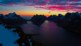鸟瞰图, Lofoten海岛,雷讷,挪威 免版税图库摄影