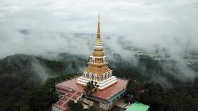 鸟瞰图, Wat星期一Pra有雾的Jao赖在山在清莱,泰国 股票录像