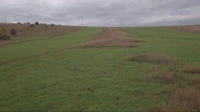 鸟瞰图 在领域的飞行在乡下附近 秋天横向 影视素材