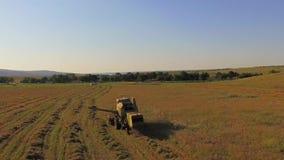 鸟瞰图 留下干草的联合收割机在领域,当工作时 影视素材