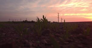 鸟瞰图 长期和穿过与乡下风景的青山的弯曲道路在日落 4K 股票录像