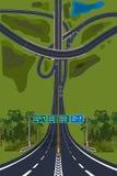 鸟瞰图-顶视图路交叉点,高速公路 免版税库存图片