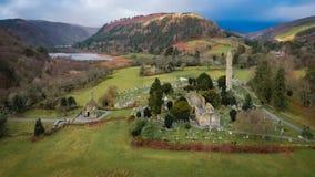 鸟瞰图 Glendalough 威克洛 爱尔兰 图库摄影