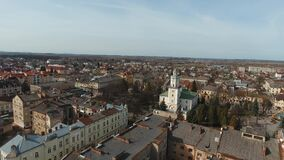 鸟瞰图- Sambor的乌克兰小城市 股票录像