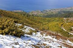 鸟瞰图Madeiran海滨胜地、海洋和雪 免版税库存图片