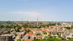 鸟瞰图Snia工厂在瓦雷多,蒙扎Brianza, Lombardia意大利 免版税库存照片